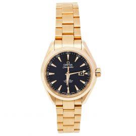 Omega Black 18K Yellow Gold Seamaster Aqua Terra 231.50.34.20.01.001 Women's Wristwatch 34 mm, Black