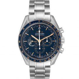 Omega Blue Stainless Steel Speedmaster Apollo 17 LE Moonwatch 311.30.42.30.03.001 Men's Wristwatch 42 MM