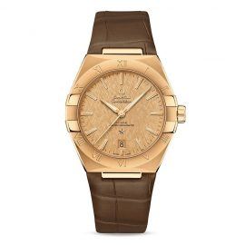 Omega Constellation Men's Brown Leather Strap Watch