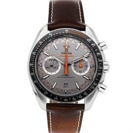 Omega Grey Stainless Steel Speedmaster Racing Chronograph 329.32.44.51.06.001 Men's Wristwatch 44 MM