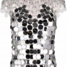 Paco Rabanne sequin-embellished metallic blouse - Neutrals