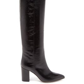 Paris Texas - Knee-high Lizard-effect Leather Boots - Womens - Black