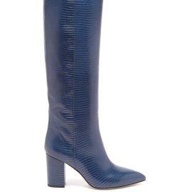 Paris Texas - Knee-high Lizard-effect Leather Boots - Womens - Blue