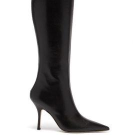 Paris Texas - Mama Leather Knee-high Boots - Womens - Black