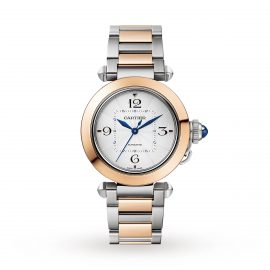 Pasha de Cartier 35 mm, automatic movement, 18K rose gold and steel, interchangeable metal and leather straps