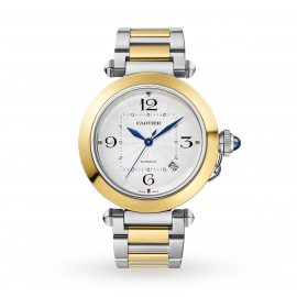 Pasha de Cartier 41 mm, automatic movement, 18K yellow gold and steel, interchangeable metal and leather straps