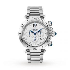 Pasha de Cartier 41 mm, chronograph, automatic movement, steel, interchangeable metal and leather straps