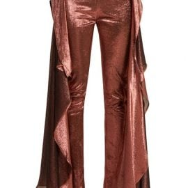 Paula Knorr - Relief High-rise Ruffled Silk-blend Lamé Trousers - Womens - Gold