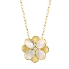 Petali 18K Yellow Gold, Mother-Of-Pearl & Diamond Small Flower Pendant Necklace