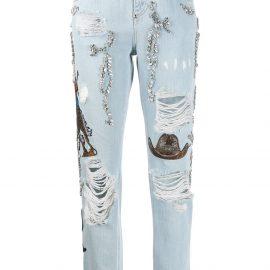 Philipp Plein Boyfriend Cowboy patch-embellished jeans - Blue