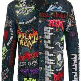 Philipp Plein Rock PP embellished denim jacket - Blue