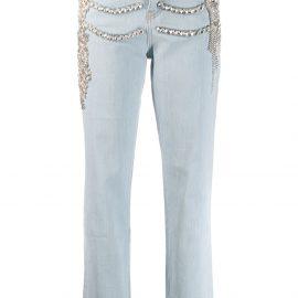 Philipp Plein crystal embellished Boyfriend jeans - Blue