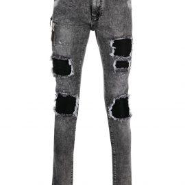 Philipp Plein destroyed skinny biker jeans - Grey