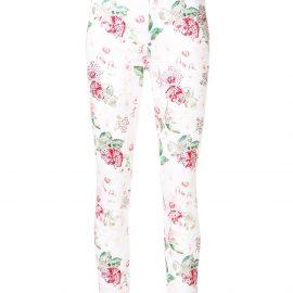 Philipp Plein embellished rose print jeans - White