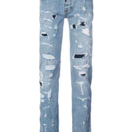 Philipp Plein heavy distressed jeans - Blue