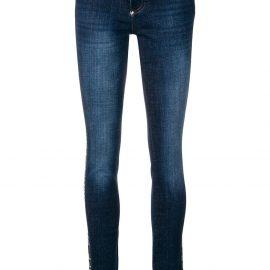 Philipp Plein logo trim skinny jeans - Blue