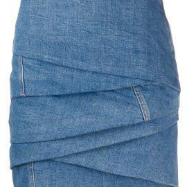 Philosophy Di Lorenzo Serafini gathered denim mini skirt - Blue