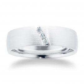 Platinum 0.09ct Diamond Set Diagonal Matt Mens Wedding Ring - Ring Size Q