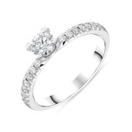 Platinum 0.58ct Diamond Pave Shoulder Solitaire Ring