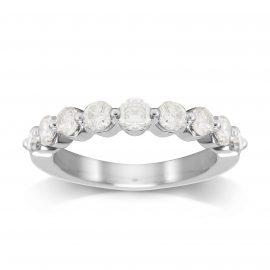 Platinum 1.00cttw Brilliant Cut Diamond Claw Set Eternity Ring - Ring Size P