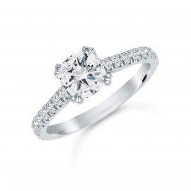 Platinum 1.60 Carat Total Weight Diamond Set Shoulder Engagement Ring - Ring Size M