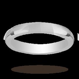 Platinum 3mm Heavy Court Wedding Ring - Ring Size O