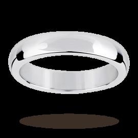 Platinum 4mm Flat Sided D Shape Wedding Ring - Ring Size Q