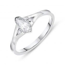 Platinum Diamond Marquise Cut Trilogy Ring