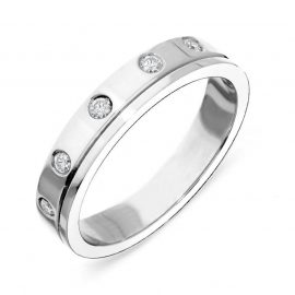 Platinum Diamond Set Wedding Band Ring