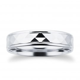 Platinum Full Diamond Cut Mens Wedding Ring - Ring Size T