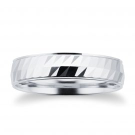 Platinum Half Diamond Cut Mens Wedding Ring - Ring Size P