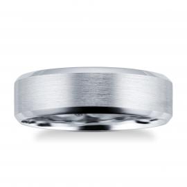 Platinum Mens Edged Fancy Wedding Ring - Ring Size P