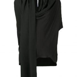 Poiret draped neck blouse - Black