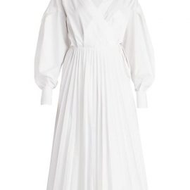 Poplin Puff-Sleeve Pleated Shirtdress
