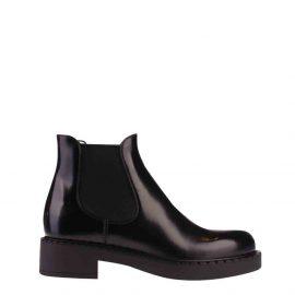 Prada Black Brushed calf leather Chelsea Boots Size EU 39