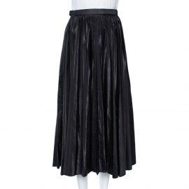 Prada Black Coated Pleated Midi Skirt M