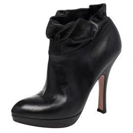 Prada Black Leather Ruffle Detail Platform Ankle Length Booties Size EU 36.5