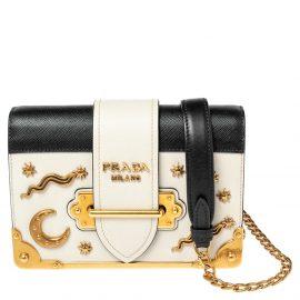 Prada Black/Off White Saffiano Leather Astrology Celestial Cahier Crossbody Bag