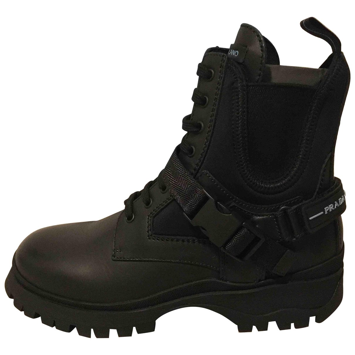 Prada Block Combat Black Leather Ankle boots for Women