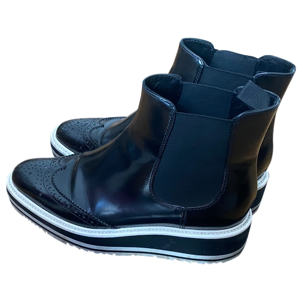 Prada Block Combat Black Leather Boots for Women