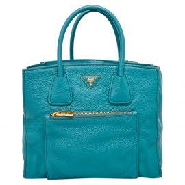 Prada Blue Calfskin Leather Glace Pocket Tote Bag