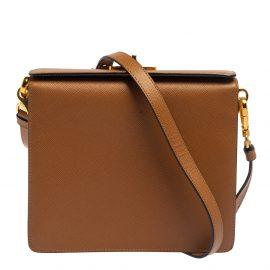 Prada Brown/White Saffiano Leather Box Shoulder Bag