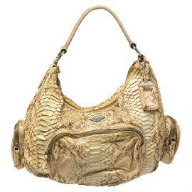 Prada Cream Python Washed Multi Pocket Shoulder Bag