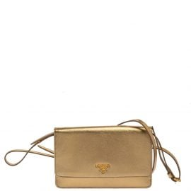 Prada Metallic Gold Saffiano Leather Flap Crossbody Bag