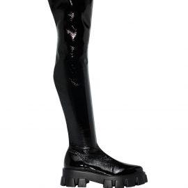 Prada Monolith thigh-high leather boots - Black