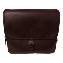 Prada N Burgundy Leather Bag for Men