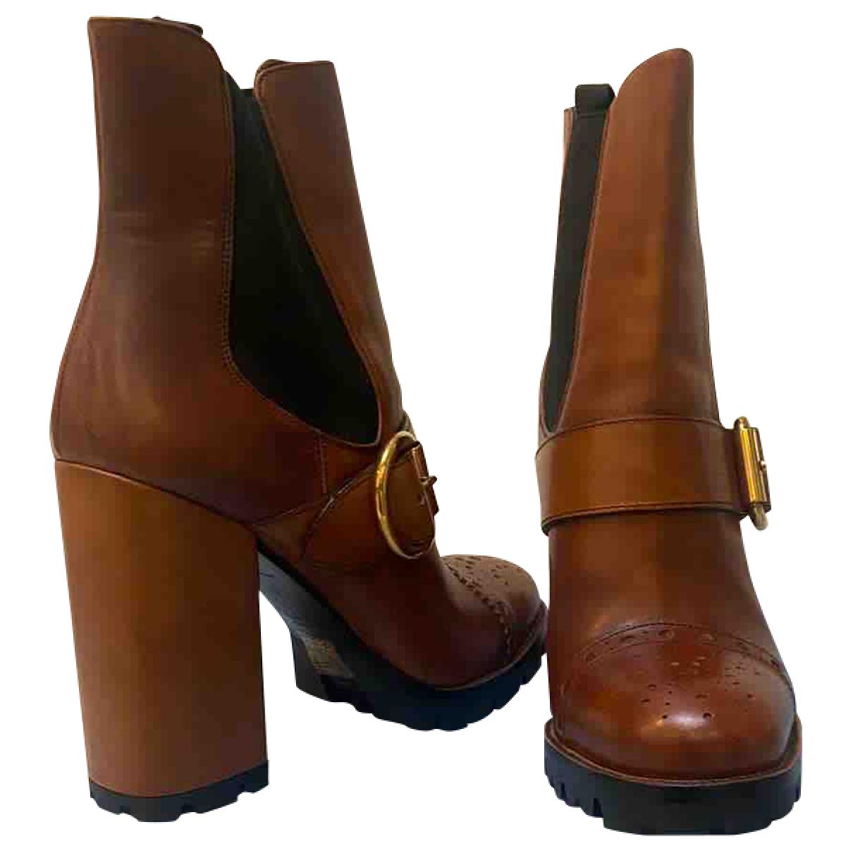Prada N Camel Leather Ankle boots for Women