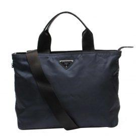 Prada Navy Blue Nylon Tote Bag