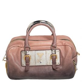 Prada Ombre Brown Glace Leather Zippers Bauletto Bag