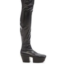 Prada - Over-the-knee Leather Platform Boots - Womens - Black